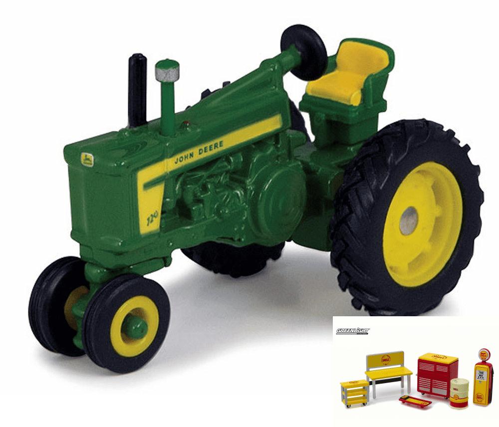 Diecast Car & Shop Tools Package John Deere Vintage Tractor, Green ERTL Collect 'n Play... by ERTL