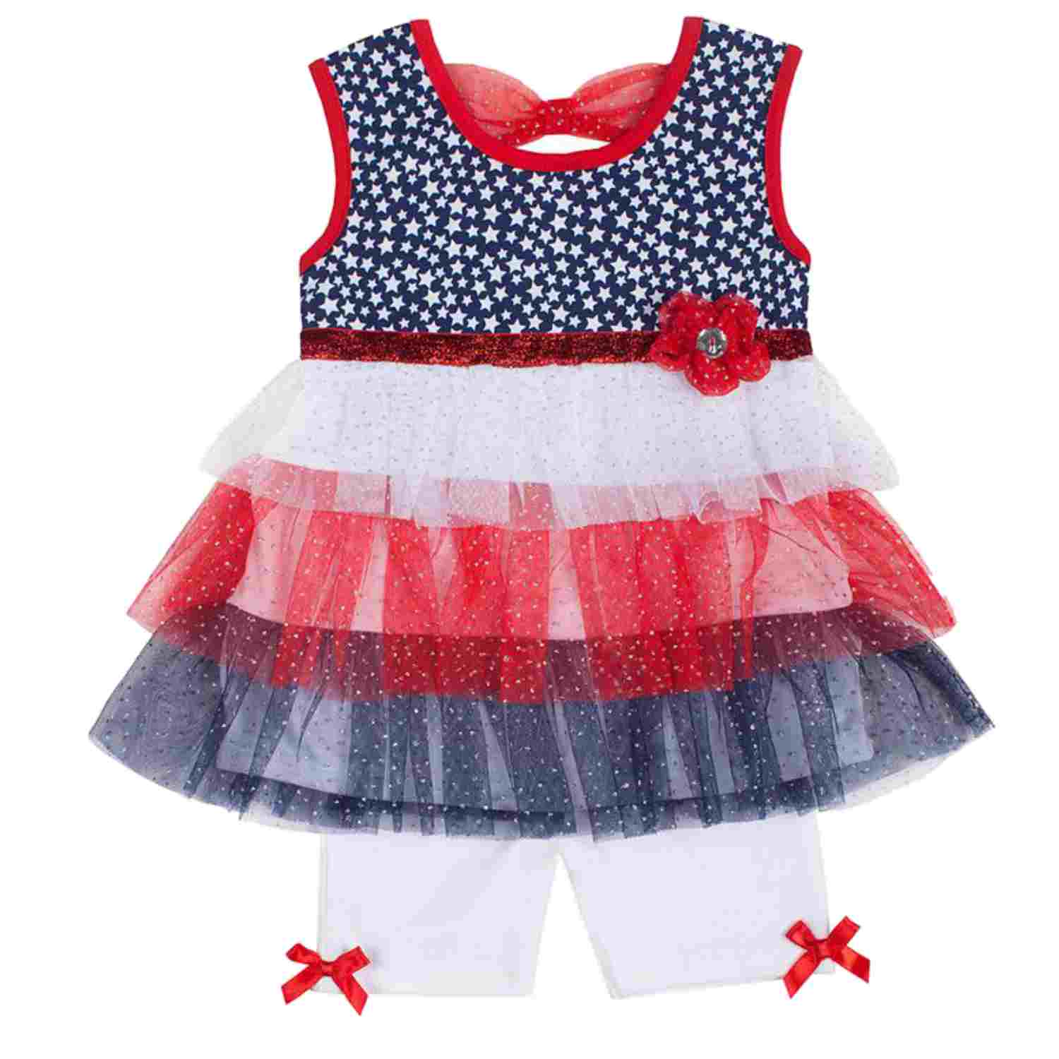 Little Lass Infant & Toddler Girls Patriotic Tulle Top & Bottoms Outfit Set
