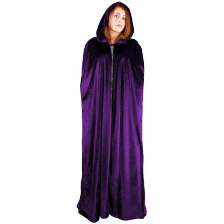 Full Length Velvet Hooded Cape/Cloak Adult Costume Purple](Black Cloaks)