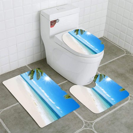 EREHome Tropical Beach Idyllic Landscape 3 Piece Bathroom Rugs Set Bath Rug Contour Mat and Toilet Lid Cover - image 1 of 2