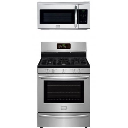 30' Double Oven Gas Range - Frigidaire Gallery 2-Piece Stainless Steel Kitchen Package with FGGF3058RF 30