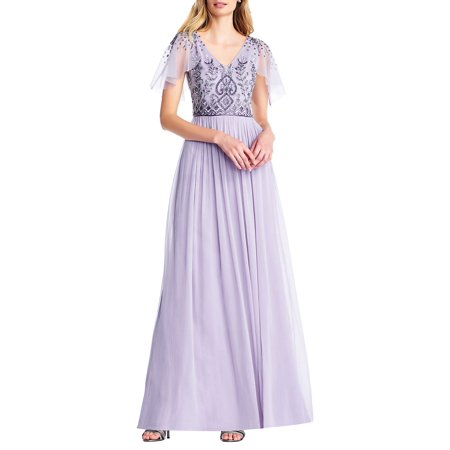 Beaded Long Chiffon Dress