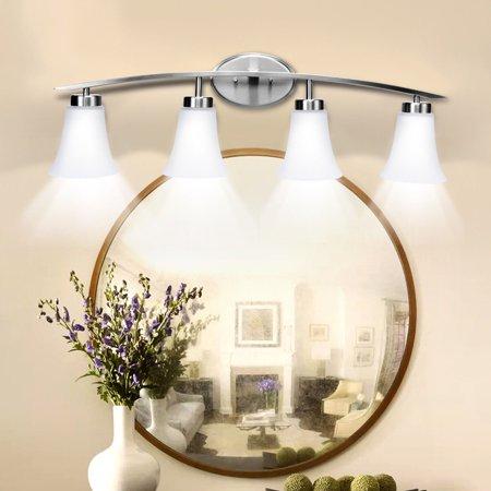 Costway 2-Light Vanity Light Nickel Finish With Glass Shade Bathroom Fixture UL Listed ()