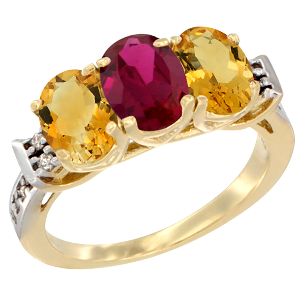 10K Yellow Gold Enhanced Ruby & Natural Citrine Sides Ring 3-Stone Oval 7x5 mm Diamond Accent, sizes 5 10 by WorldJewels