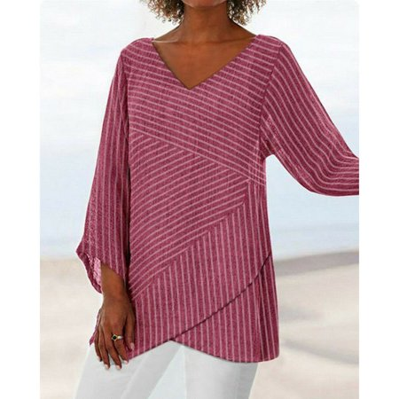 Womens Linen Long Sleeve Striped V Neck Blouses Loose Baggy Tops Tunic T Shirts Plus Size Dark Red