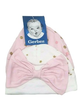 Gerber Baby Girl 2 pair Caps, Pink/White (0-6 months)