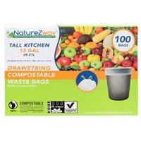 Naturezway Compostable Drawstring Trash Bag, 13 Gallon, 100 Count