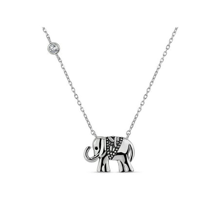 Round White Cubic Zirconia Sterling Silver Oxidized Two Sided Elephant Necklace, 20