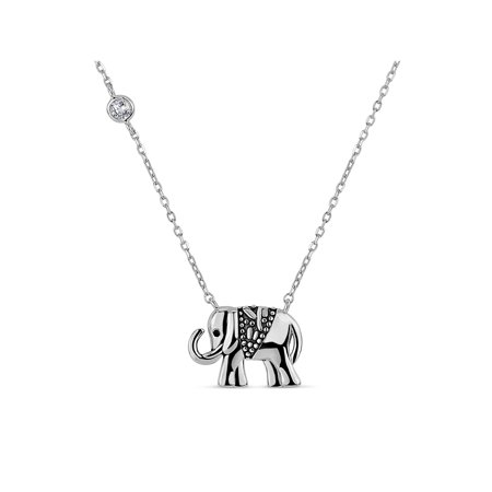Oxidized Silver Jewellery - Round White Cubic Zirconia Sterling Silver Oxidized Two Sided Elephant Necklace, 20