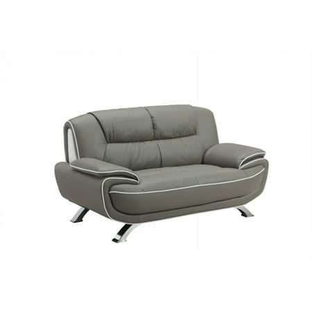 40 Quot Sleek Grey Leather Loveseat Walmart Com