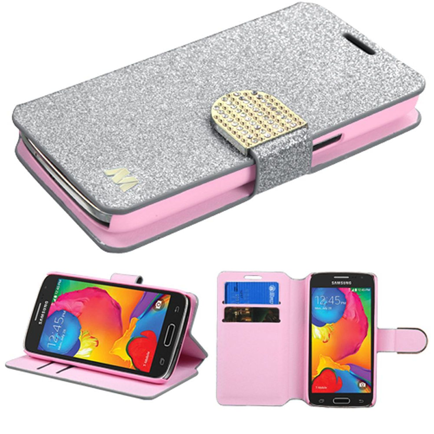 Insten Flip Leather Wallet Glitter Cover Case w/stand/card slot/Diamond For Samsung Galaxy Avant - Silver/Gold
