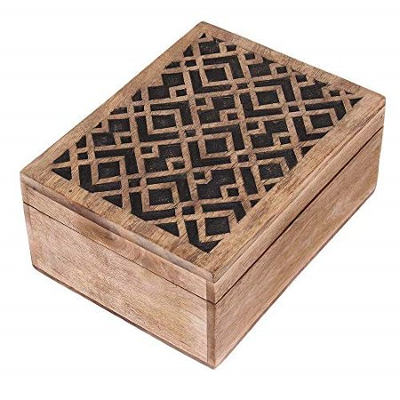 Carved Keepsake (storeindya Thanksgiving Gifts Jewelry Box Keepsake Trinket Storage Box Rustic Wooden Organizer Hand Carved Geometric Pattern )