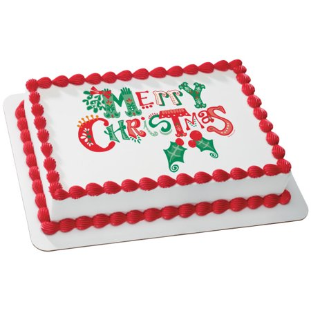 Merrymaking Merry Christmas Edible Cake Topper Image - 1/4 sheet ()