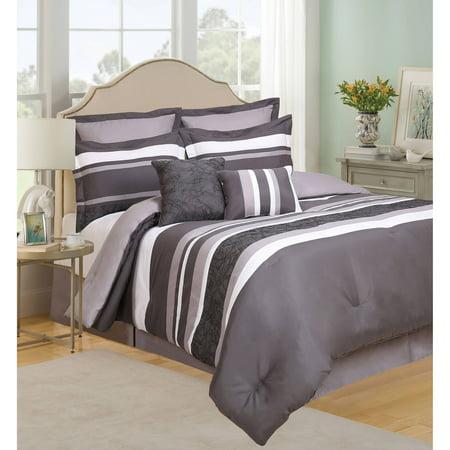 Urban Stripe 8 Piece Bedding Comforter Set Queen