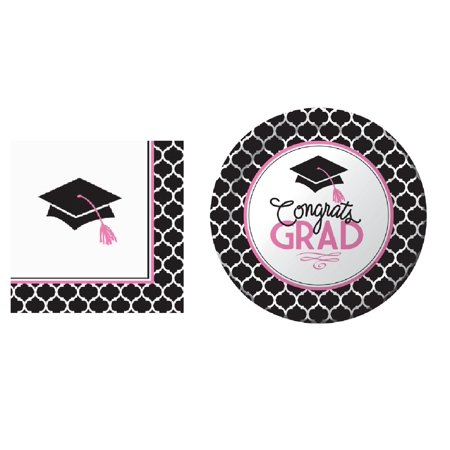 Graduation Plates And Napkins (Glamorous Grad Dessert Plates and Napkins for 18)