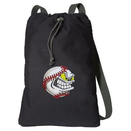 Canvas Baseball Fan Backpack Natural Cotton Baseball Cinch Bag Lined and with Wide Straps