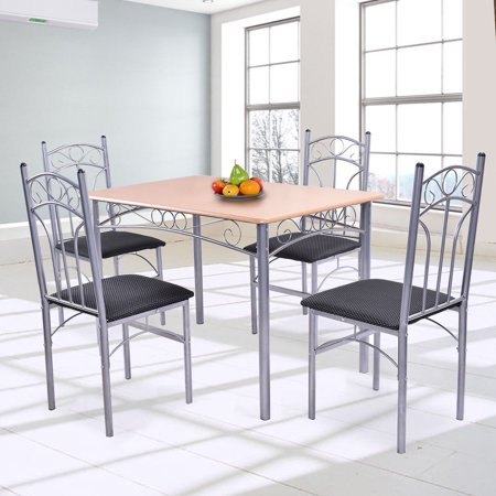 Costway 5PCS Dining Set Table and 4 Chairs Home Kitchen Modern Furniture ()
