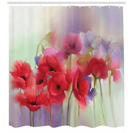 Flower Shower Curtain Poppy Flowers Blur Spring Floral Seasonal Romantic Artistic Illustration Print Fabric