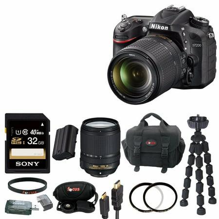 Nikon D7200 DX-format Digital SLR w/ 18-140mm VR Lens (Black) with 32GB Deluxe Accessory Bundle