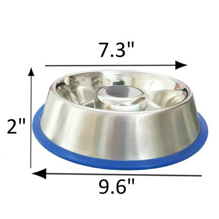 Stainless Steel Interactive Slow Feed Dog Bowl with a Silicone Base by Mr. Peanut