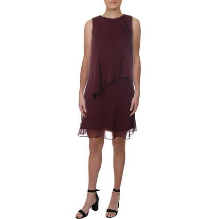 Lauren Ralph Lauren Womens Lonia Cape Sleeves Knee-Length Capelet Dress Red 12
