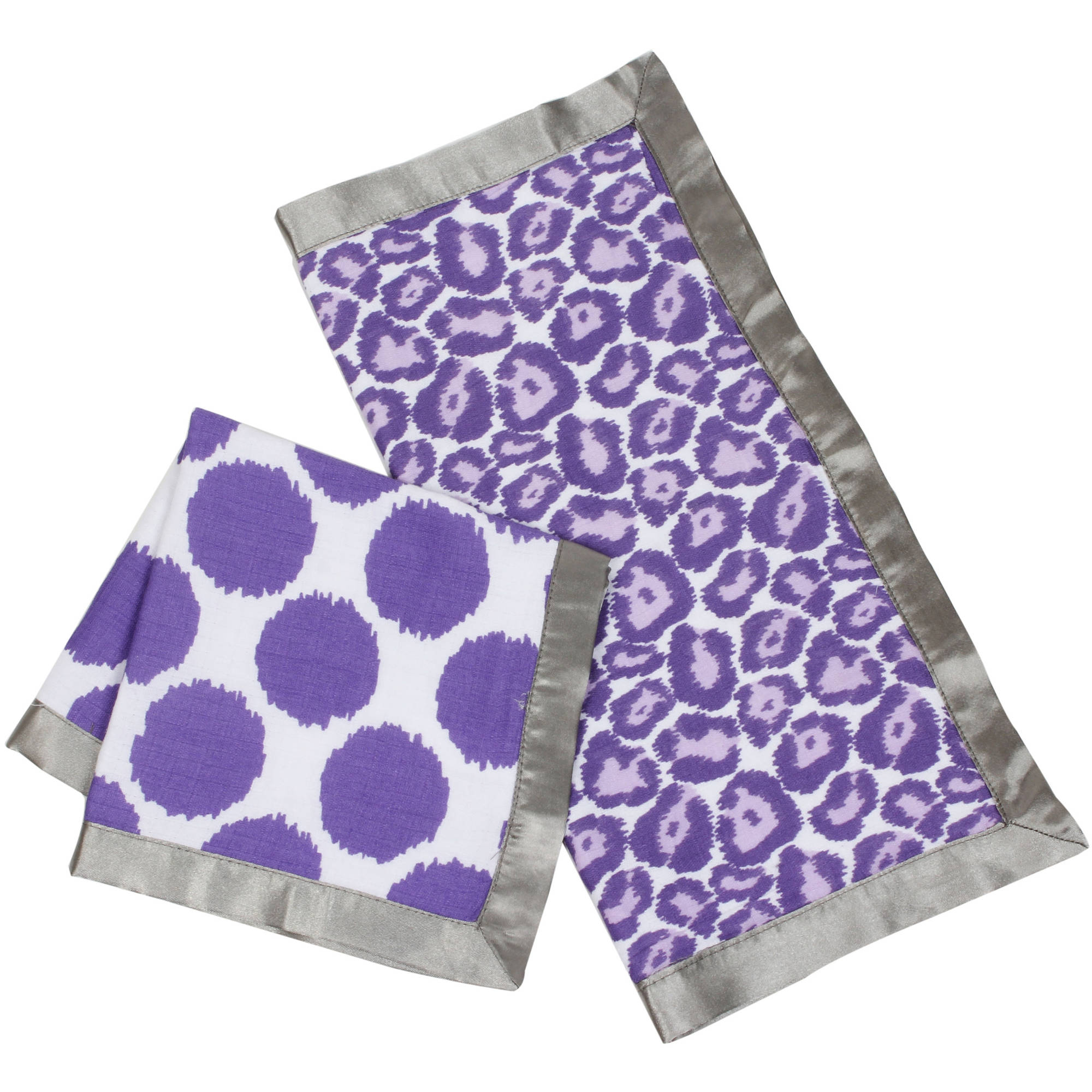Bacati - Ikat Dots/Leopard Muslin 2-Piece Security Blankets with Sateen Trim, Lilac/Gray
