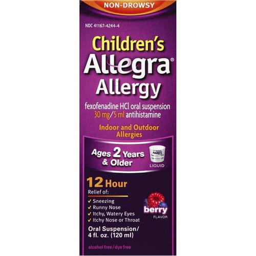 Allegra Children's 12 Hour Non-Drowsy Indoor and Outdoor Allergy Relif Liquid 4...