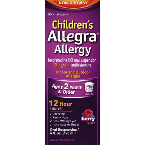 Allegra Children's 12 Hour Non-Drowsy Indoor and Outdoor Allergy Relif Liquid 4 Fl Oz