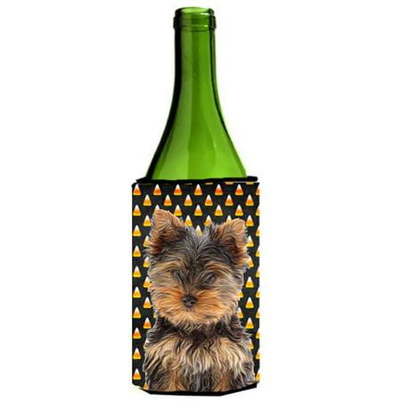 Candy Corn Halloween Yorkie Puppy & Yorkshire Terrier Wine bottle sleeve Hugger](Yorkshire Halloween)