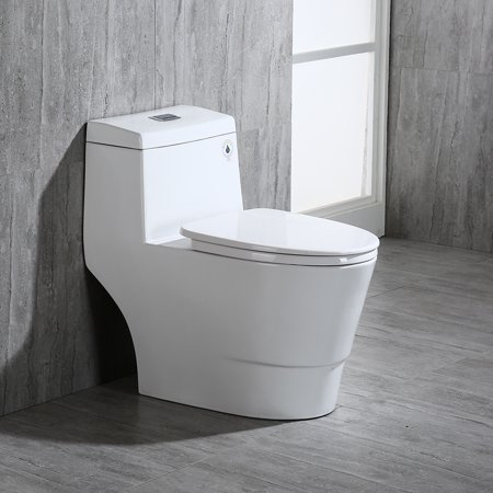 Woodbridge T-0001 , Dual Flush Elongated One Piece Toilet with Soft Closing Seat, Comfort Height, Water Sense, High-Efficiency, Rectangle Button, Pure