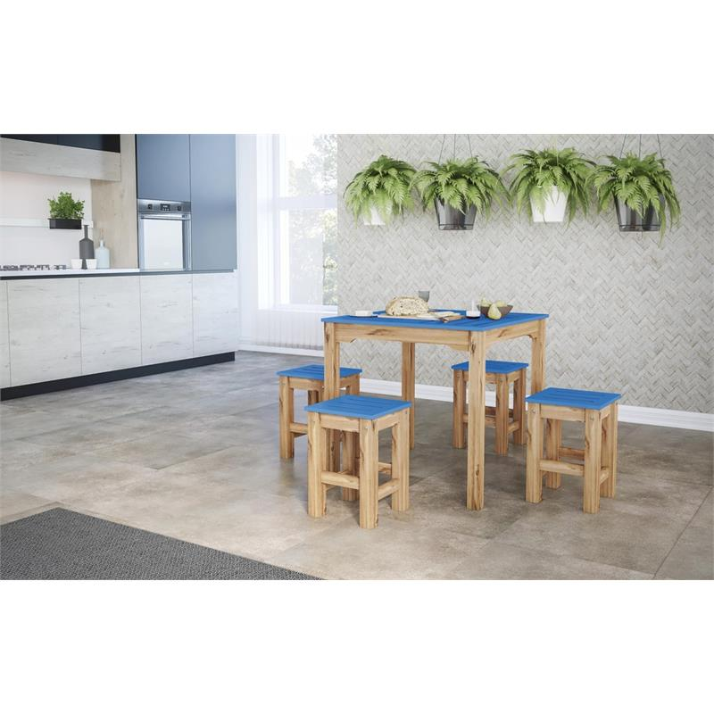 """5-Piece Stillwell 31.5"""" Square Dining Set  in Blue and Natural Wood"""