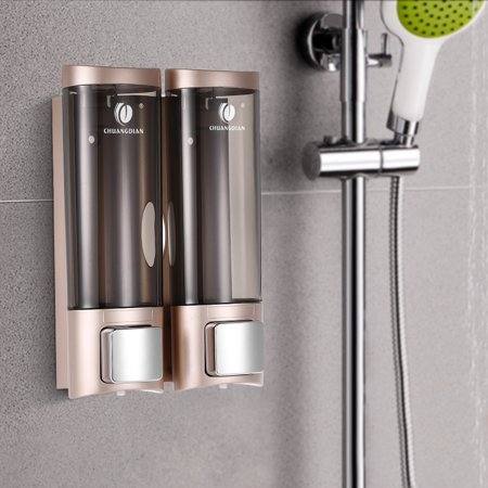 CHUANGDIAN Manual Hand Soap Dispenser Wall Mount Double Liquid Shampoo Shower Gel Dispenser Hand Cleanser Washroom Lotion Dispenser for Bathroom Restroom Hotel 200mlx2