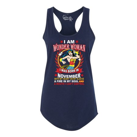 Wonder Woman Born In November Superhero Womans Racerback Tank Top