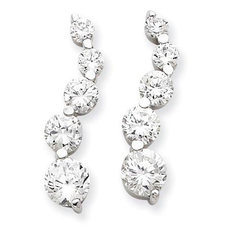 - Sterling Silver CZ Journey Earrings