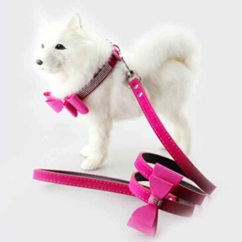 Dog Collar with Flocking Diamond Studded Bowknot Metal D Ring, Size: Small, 1.5 x 37cm(Magenta)