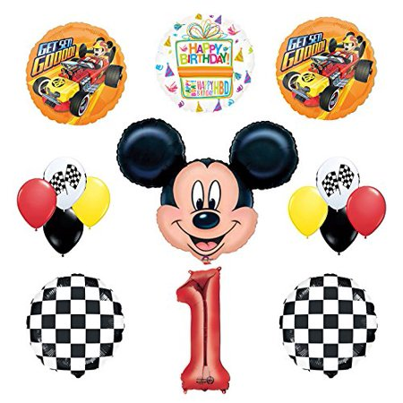 Mickey Mouse 1st Birthday Party Supplies And Roadster Balloon Bouquet Decorations