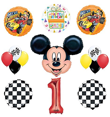 Mickey Mouse 1st Birthday Party Supplies and Mickey Roadster Balloon Bouquet Decorations