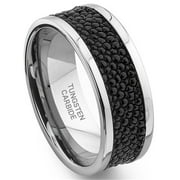 Titanium Kay Tungsten Carbide Black Stingray Leather Wedding Band Ring Sz 10.0
