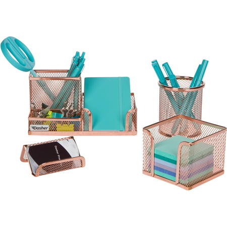 Desk Organizer Office Accessories Set - Set of 4 Rose Gold Desk Accessories, Mesh Desk Set Includes Pen Case, Sticky Note Holder, Business Card Tray, and Desk Organizer (Pen Desk Sets)