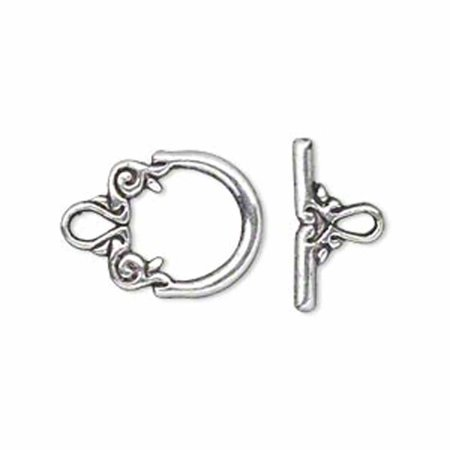 19 Antiqued Silver Pewter Toggle Clasps 2 Side Design 14mm Loop 17mm Bar