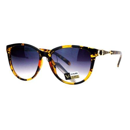 VG Eyewear Jewel Buckle Hinge Horn Rim Oversize Cat Eye Sunglasses Tortoise Smoke