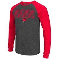 """Wisconsin Badgers NCAA """"Olympus"""" Long Sleeve Raglan Shirt - Charcoal"""