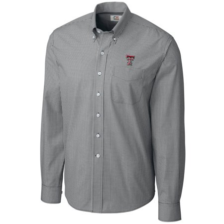 Texas Tech Red Raiders Cutter & Buck Epic Easy Care Gingham Big & Tall Long Sleeve Button-Down Shirt - Heather Charcoal