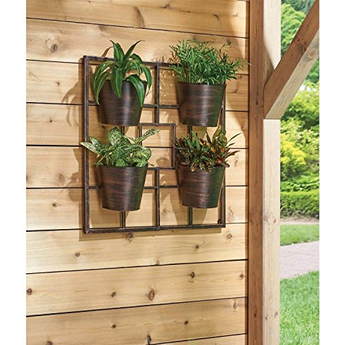 Vertical Garden Grid 4-Piece Planter Wall Stand Outdoor