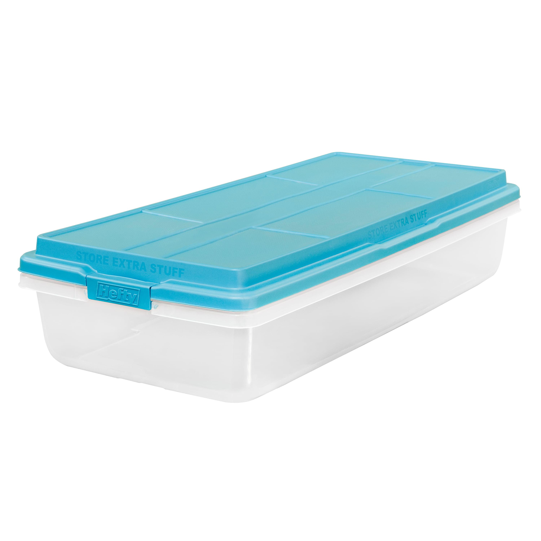 Hefty 63-Qt Hi-Rise Clear Latch Box, Teal Sachet Lid and Handles