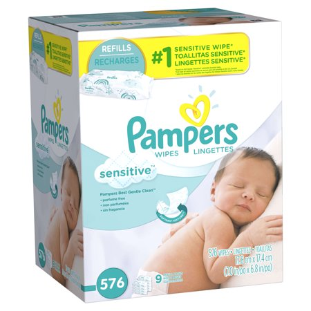 Pampers Sensitive Baby Wipes  Unscented  Refills  9 Packs Of 64  576 Count