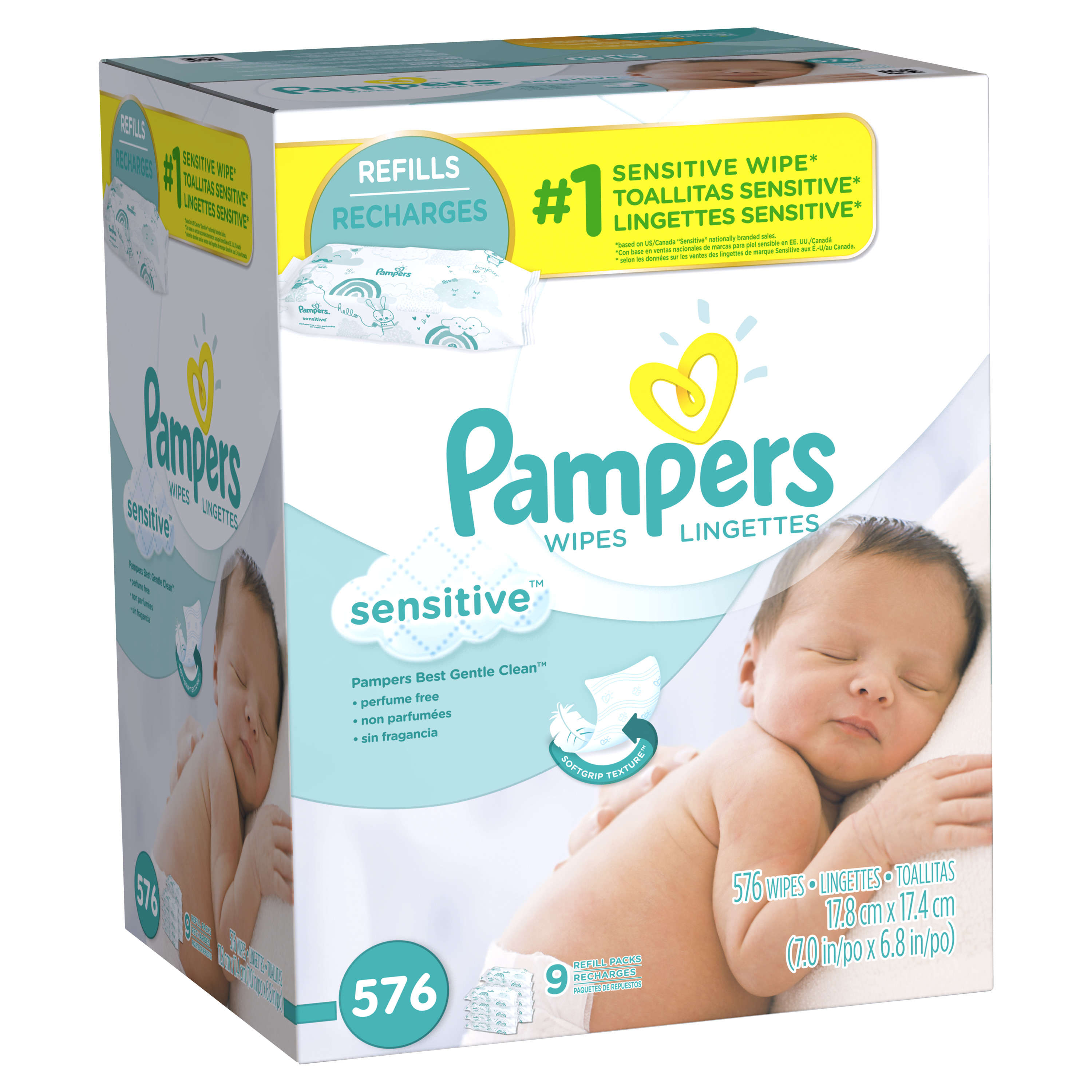 Pampers Baby Wipes Sensitive 9X Refill 576 count