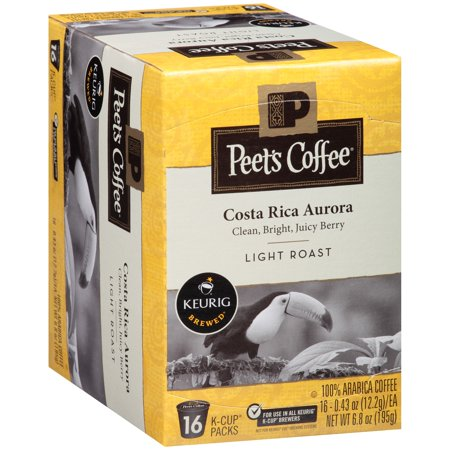 Peet's Coffee Costa Rica Aurora K-Cup Coffee Pods, Light Roast, 16 Count (Estate Costa Rican Pods)