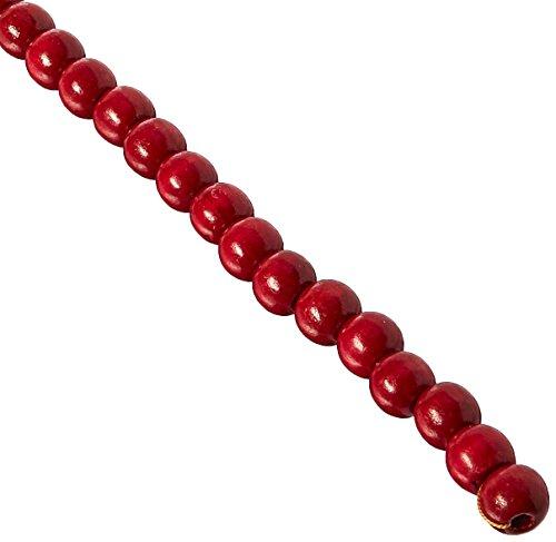 Darice 14mm Wood Bead Garland, 9-Feet, Burgundy and Red
