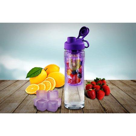 28oz Infusion Fruit Sports Water Bottle & Ice! Flip Lid Health BPA Free Plastic ()